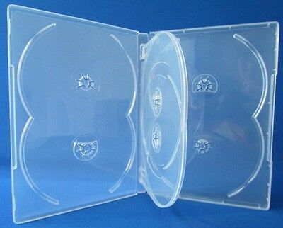 4 New Premium Clear Multi hold 6 Discs DVD CD Cases, Standard 14mm, 6C