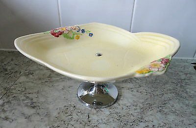 LOVELY VINTAGE 1930s ? YELLOW CERAMIC GARDENERS FLORAL CAKE STAND