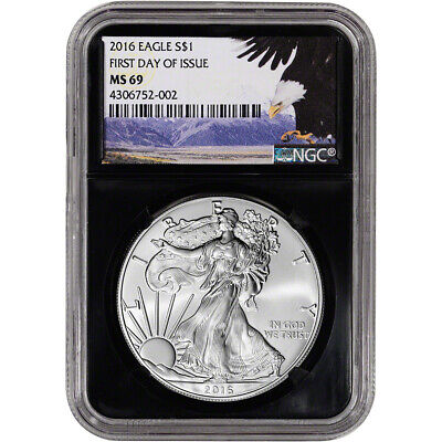 2016 American Silver Eagle - NGC MS69 - First Day of Issue - Bald Eagle - Retro