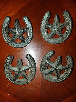 Set Of 4 Western Rustic Brown Horseshoe Drawer Pull With Star