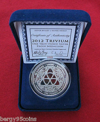"Silver Bullet Silver Shield 2012 ""TRIVIUM"" - 1 oz Silver Proof Medallion - SBSS"