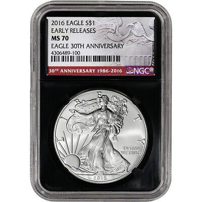2016 American Silver Eagle - NGC MS70 - Early Releases - 30th - Black Retro