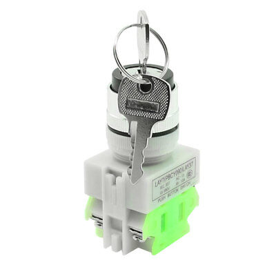 AC 660V 10A 3 Position Rotary Selector Select Switch Key Lock 1 NO 1 NC DPST
