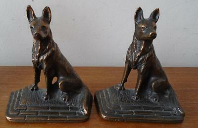 Old Cast Iron German Shepherd Dog Bookends Copper Highlight Finish