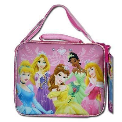 Lunch Bag Insulated with Shoulder Strap Disney 5 Princesses Pink New