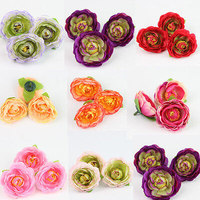 5X Artificial comely Tea Silk Flowers Heads Wedding Bridal Bouquet Floral Crafts
