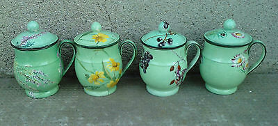 lot 4 anciens POT A CREME decor de fleurs 19eme siecle ? cream antique faience ?