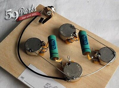 59PARTS VINTAGE 50s GIBSON LES PAUL PRE WIRED HARNESS ASSEMBLY LONG SHAFT w/JACK