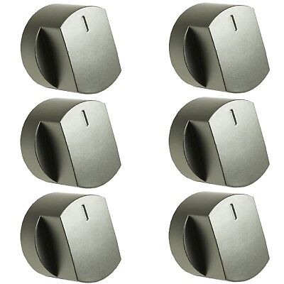 6 x Silver Oven Cooker Hob Control Knob Switch For Stoves 444445730