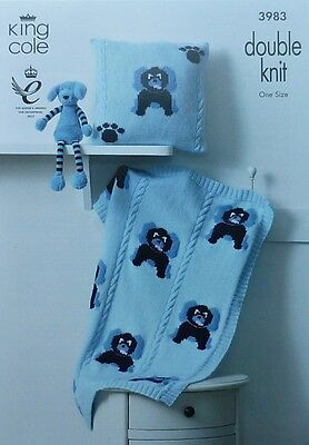 KNITTING PATTERN Baby Puppy Dog Blanket and Cushion DK King Cole 3983