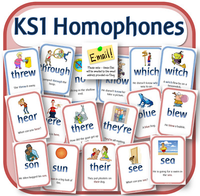 KS1 HOMOPHONES POSTERS FLASH CARDS ENGLISH GRAMMAR SPaG Teaching resources CD