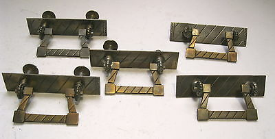 Five Vintage Heavy Cast Brass Drawer Pulls