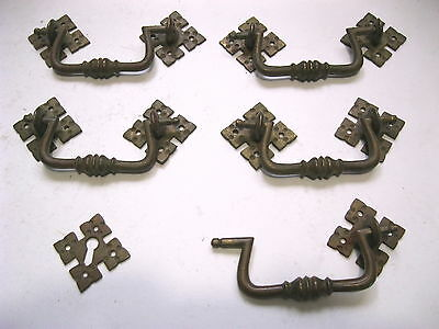 Five Vintage Heavy Brass Fancy Drawer Pulls With Matching Key Escutcheon