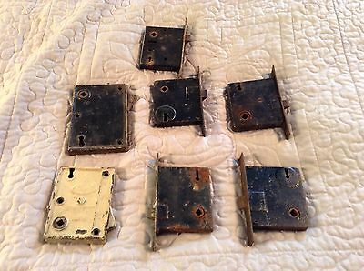Lot Of 7 Vintage Antique Door Locks Latch Hardware Blw