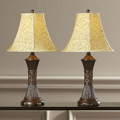 Pair of Table Lamps Bell Shade Desk Bedside Bedroom Lights Lighting Metal SET 2
