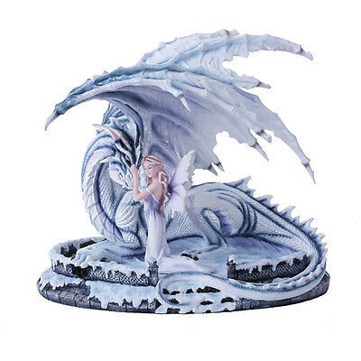 Large Winter Queen Fairy with Guardian Dragon Figurine Snow Blizzard Elsa Statue