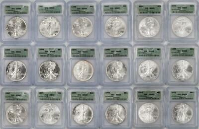 Lot of 18- American Silver Eagles 1986-2003 ICG MS69