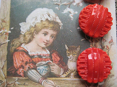 """Set of 4 Vintage 3/4"""" Red Cadmium Glass Buttons ~Pre WWII ~ new/old stock"""