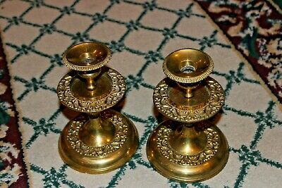 Lovely Brass Metal Candlestick Holders-Pair-Intricate Raised Scroll Work