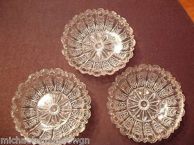 3 Rare Antique 19ThC Flint Glass Sauce Dishes In The Scale & Eye Border