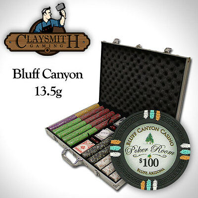 1000 Count Claysmith Gaming Bluff Canyon Chip Set in Aluminum Case