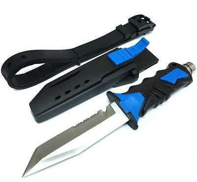 BLUE Scuba Diving Knive Outdoor Rescue Diver Stainless Steel Leg Strap Straight