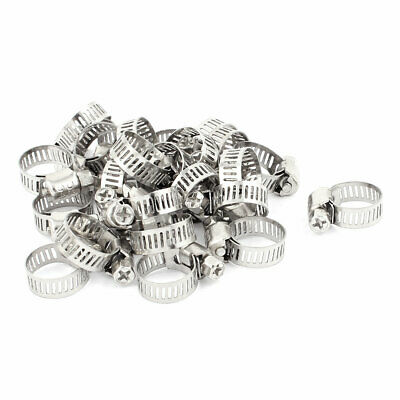 Adjustable 9-16mm Cable Tight Coolant Hose Pipe Fitting Worm Gear Clamp 25Pcs