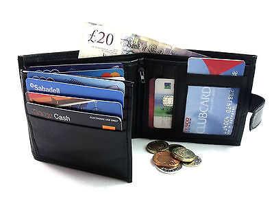 Mens Real Leather Trifold Wallet In Black Credit Card Holder Coin Pouch Purse