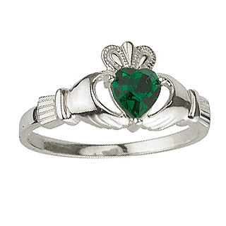 Ladies Sterling Silver Emerald Claddagh Ring