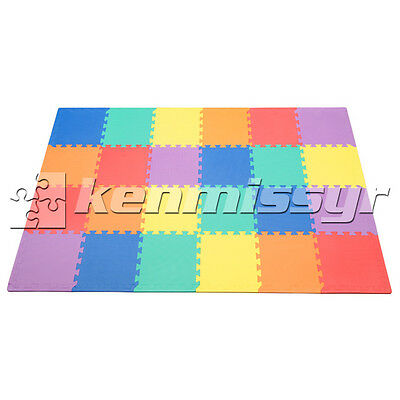 "24 Sf Multi Color 12"" Tiles Interlocking Foam Floor Puzzle Mat Gym Play Mats Eva"