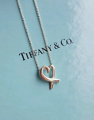 Tiffany & Co Silver Picasso Loving Heart Necklace Pendant  FLAWLESS/VALENTINES