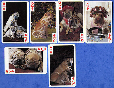 Shar Pei Dog Playing Swap Single Cards Great Gift When Framed Diamond Pips