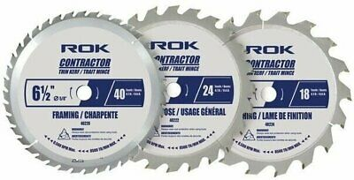 3X 6 1/2 Inch Cordless Circular Saw Blade Thin kerf Set Carbide Tips Combo 3Pack