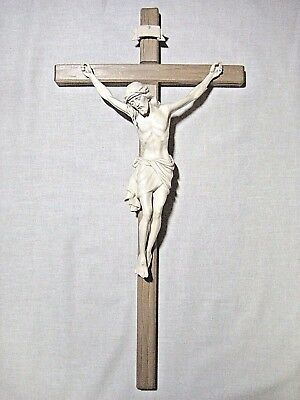 """21"""" Hand Carved Wood Crucifix, Hand made in Italy, Woodcarved Christian Gift"""