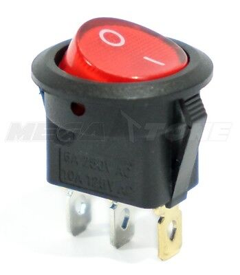 SPST 3 Pin ON/OFF Round Rocker Switch w/ Red Neon Lamp 10A/125VAC USA Seller!!!