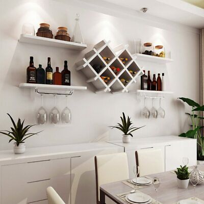 WHITE BLACK Wall Mounted Wine Rack Bottle Champagne Glass Holder Bar Accessory