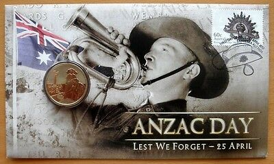 Australian Anzac Day Lest We Forget 2012 Pnc Stamp And $1 Coin Covers