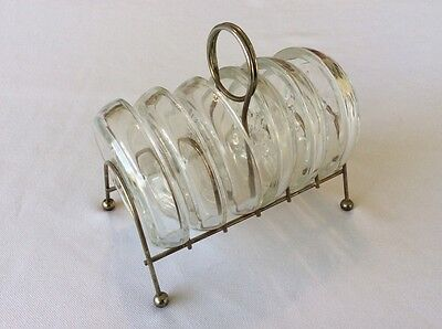 Rare Vintage Glass Coaster Set Of Six With Metal Stand Carrier - Must See