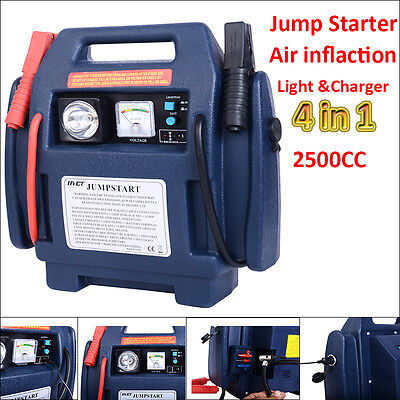 Portable 12v Car Battery Jump Starter Pack Booster&Air Compressor Light Charger