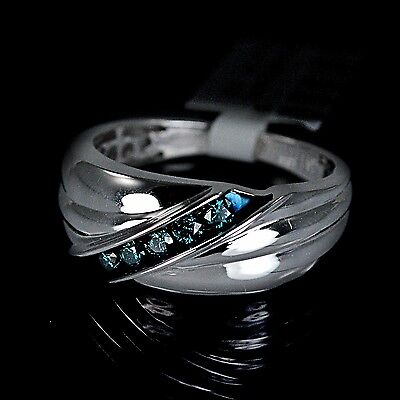 Men's Silver 10K Gold Gp Genuine Real Blue Diamond Ring Wedding Engagement Band