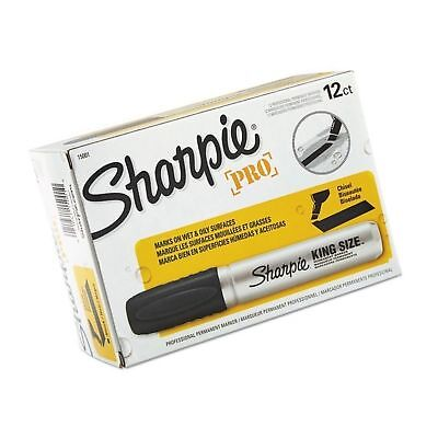 Sharpie Pro King Size Permanent Markers Chisel Tip Black (Pack of 12) 12-... New