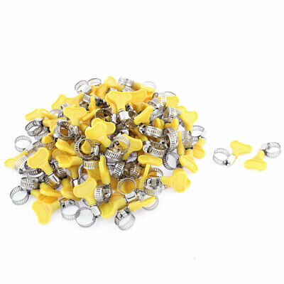 Yellow Handle Adjustable 9-16mm Stainless Steel Worm Drive Hose Clamp 100pcs
