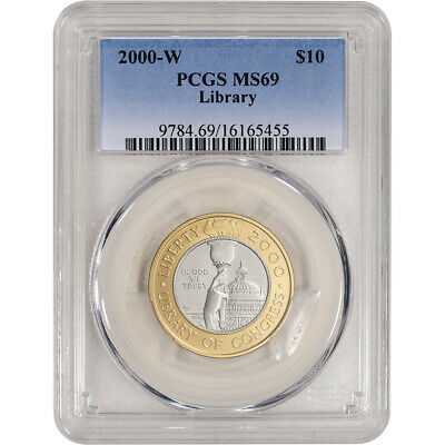 2000-W US Bimetallic $10 Library of Congress Commemorative BU - PCGS MS69