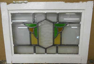 """OLD ENGLISH LEADED STAINED GLASS WINDOW Symetric Geometric Design 20.5"""" x 14.75"""""""