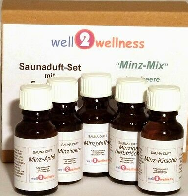 Sauna Set Of Essential Oils For / scent - 'Mint Mix' with 5 x 15ml Bottles