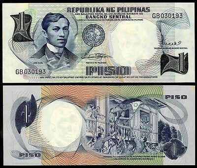 PHILIPPINES 1 PISO ND (1969) P142b UNCIRCULATED