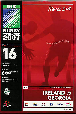 IRELAND v GEORGIA RUGBY WORLD CUP 2007 PROGRAMME