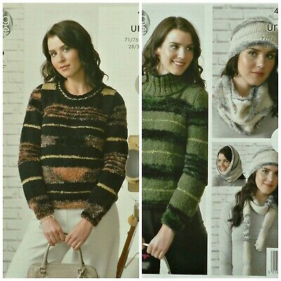 KNITTING PATTERN Ladies Easy Knit Long Sleeve Round Neck Jumper Urban 4328
