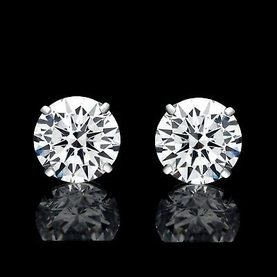 4 Ct Solid 14K White Gold Basket Round Brilliant Cut Solitaire Earrings Studs