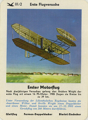 Single Vintage German Game Card: Erster Motorflug